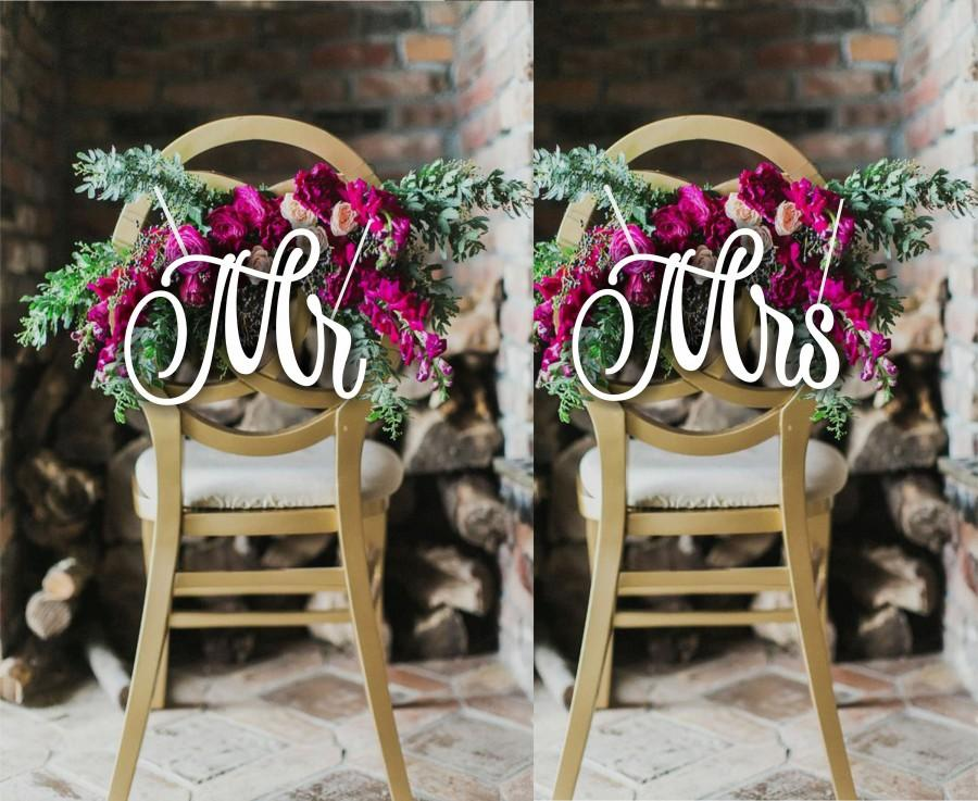 """Mariage - Mr and Mrs. Chair Sign Wood Wedding Reception Chair Signs Set Wedding Signs-Please Send your phone number in the """"NOTE to the seller"""""""