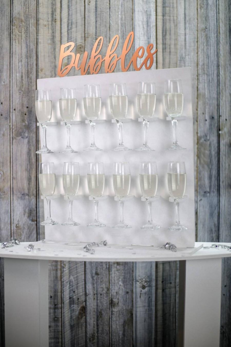 Hochzeit - Bubbles Wall, Champagne Wall, Prosecco Wall Various Sizes Holds 12-36 Flutes Freestanding. White with Text