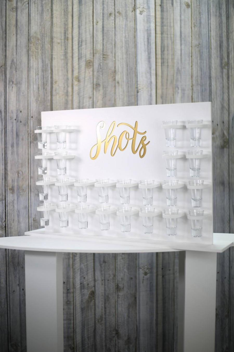 Свадьба - Shots Wall White With Acrylic Gold Shots Text Various Size Options Holds 16/24/40/62 Shots. Freestanding table top stand