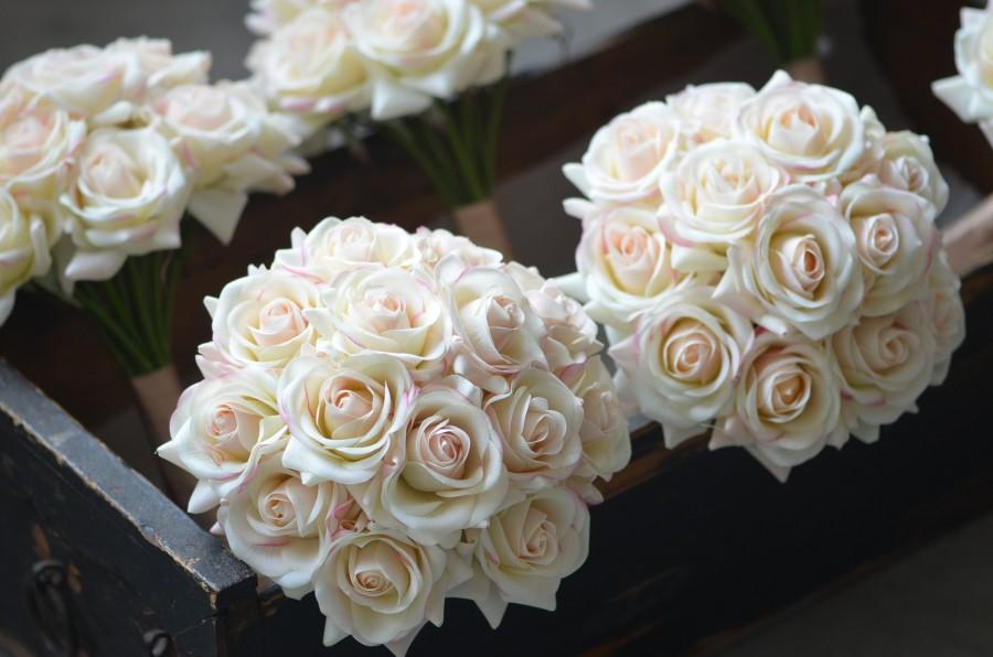 Wedding - Blush Ivory Bridesmaids Bouquets Real Touch Roses Wedding Bouquets Real Touch Flowers Bouquets