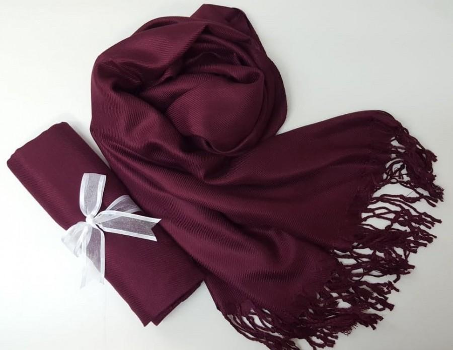 Mariage - WINE PASHMINA Shawl.Pashmina Scarf. Pashmina. Bridesmaid shawl. Bridesmaid gifts. Bridal Shawl or Wrap. Wedding Favors