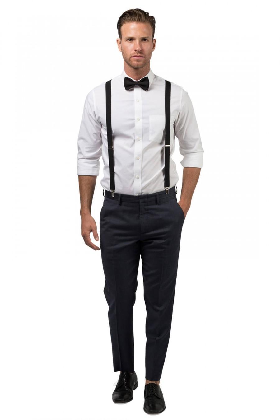 Свадьба - Black Bow Tie & Black Suspenders for Groom, Groomsmen, Prom, Ring Bearer