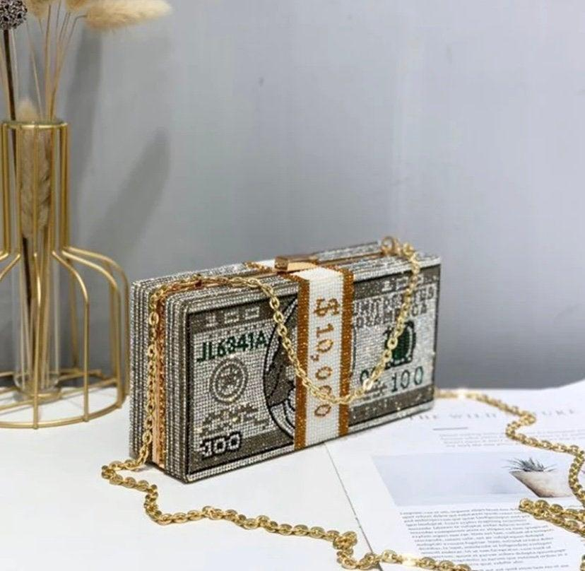 زفاف - Money Clutch Crossbody Bag dollar bag 10000 bag diamonds crystals baller Bag hustler bag unique cash bag money clutch dollar clutch cash