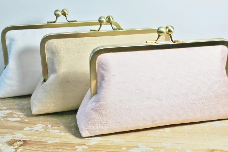 Wedding - Silk Dupioni Clutch - Wedding Clutch - Bridesmaid Clutch - Blush, Ivory, Silver, Champagne Gold - Monogram Option
