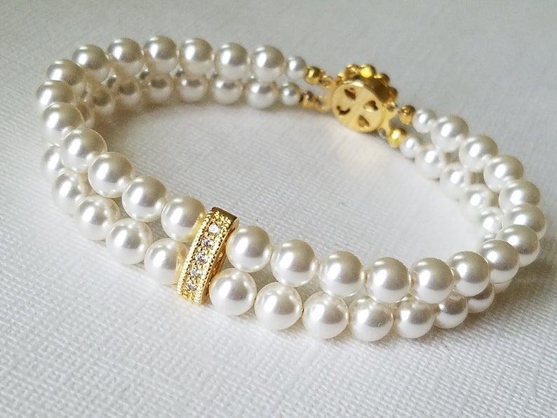 Свадьба - White Pearl Bridal Bracelet, Pearl Cuff Bracelet, Swarovski Pearl Gold Bracelet, Wedding Pearl Bracelet, Bridal Jewelry, Pearl Gold Bracelet