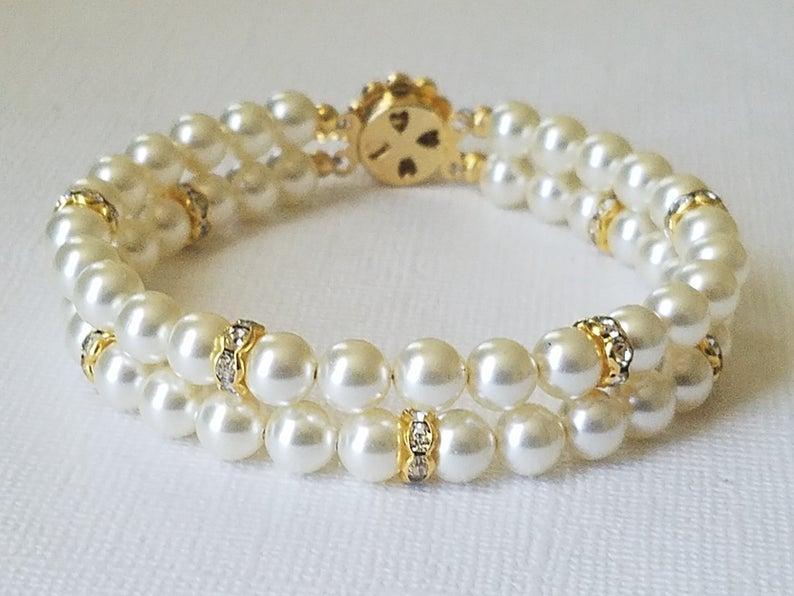 Wedding - Pearl Cuff Bridal Bracelet, Swarovski Ivory Colored Pearl Gold Bracelet, Wedding Pearl Bracelet, Two Strands Pearl Bracelet, Bridal Jewelry