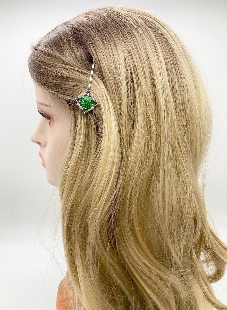 زفاف - Green Flower Bobby Pin, Floral Hair Jewelry, Wedding Hair Accessories, Art Deco Hair Pin, Crystal Bridal Pins, Wedding Headpiece, Gift Idea