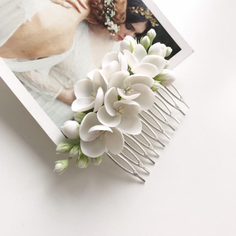 زفاف - Jasmine hair comb white flower comb wedding floral hair piece hair bridal hair piece rustic hair comb woodland wedding bridesmaid headpiece