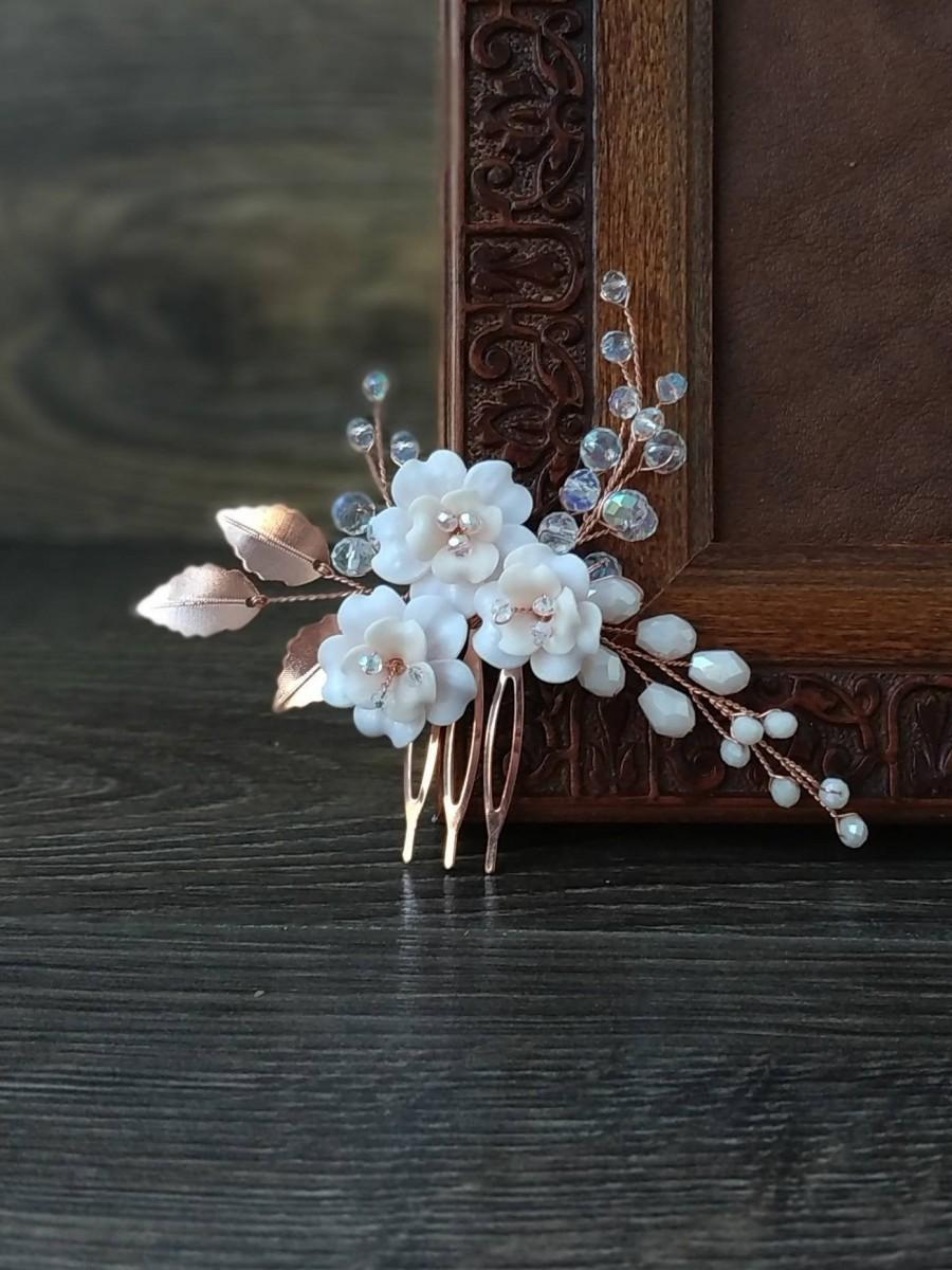 زفاف - Rose gold bridal hair piece. Rose gold hair comb with blush flowers for brides.