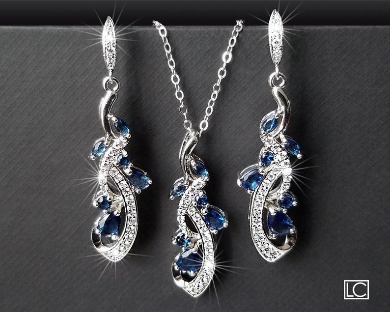 Hochzeit - Navy Blue Bridal Jewelry Set, Blue Zirconia Earrings&Necklace Set, Wedding Jewelry Set, Sapphire Crystal Set Chandelier Earrings Pendant Set