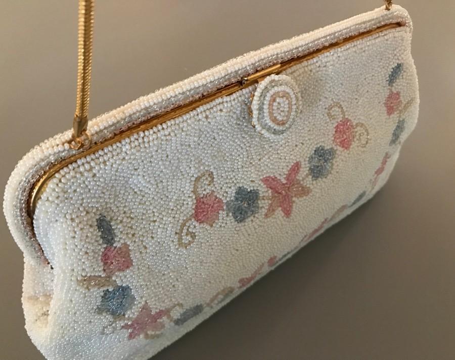 Mariage - Vintage Glass Beaded Floral Bag  /  France /  New Old Stock / Bridal Bag /  Bridal Purse / Bridesmaid Gift/ Beaded Handbag /Blush Handbag