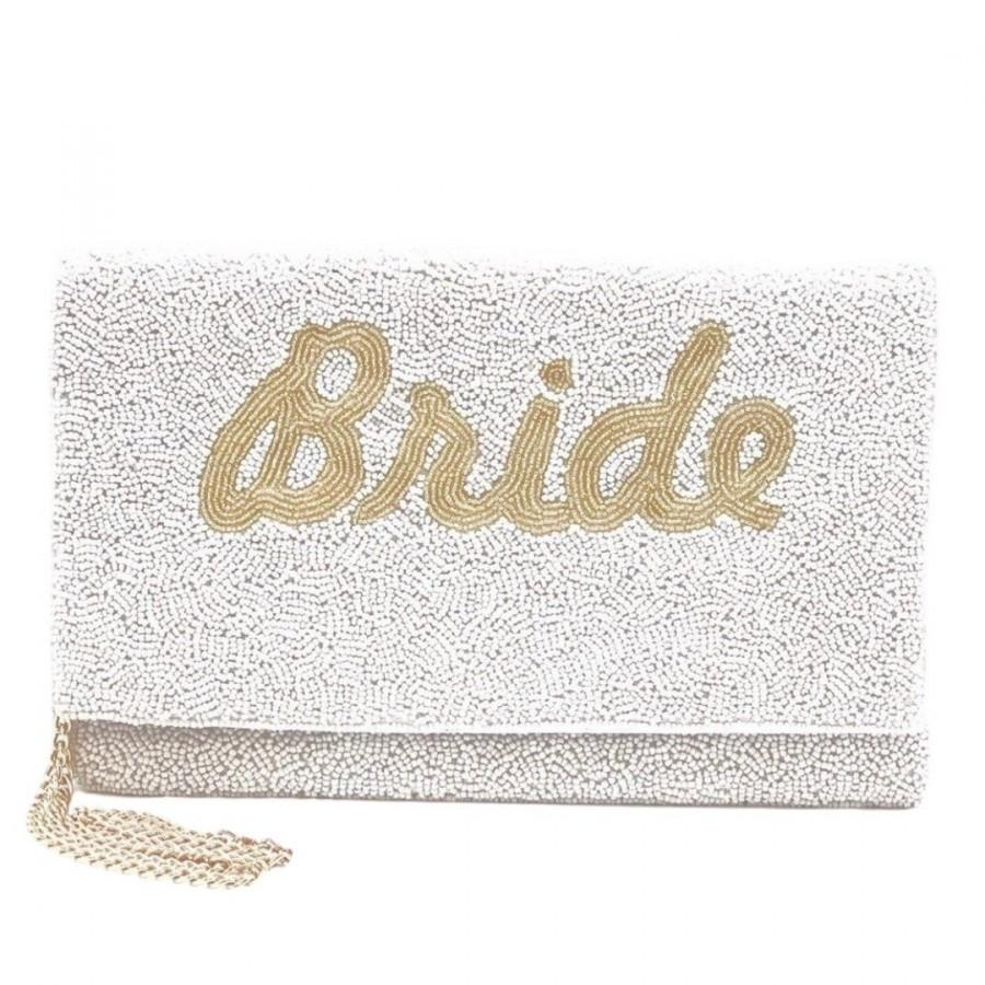 Mariage - SHIPS TODAY Large Gold Bride Beaded Clutch, Bride Shower Gift for Bride to Be, Engagement Gift Ideas, Beaded Accessories, Bride Gift