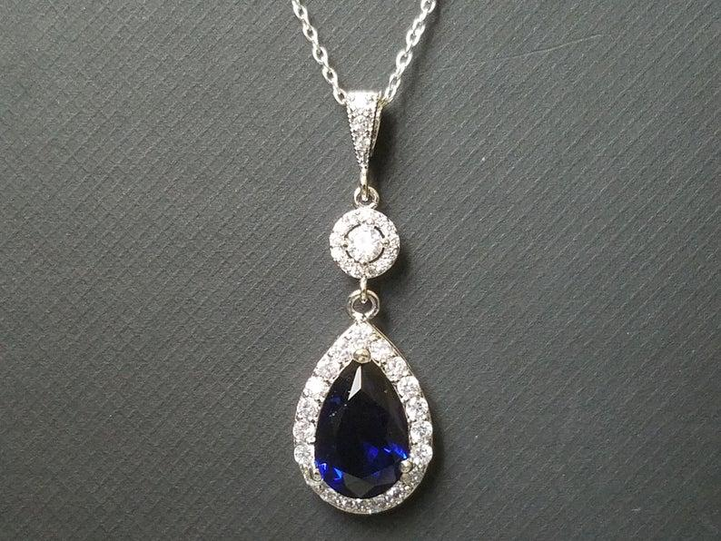 Wedding - Blue Crystal Bridal Necklace, Wedding Sapphire Halo Pendant, Royal Blue Silver Necklace, Cobalt Blue Jewelry, Dark Blue Teardrop Necklace
