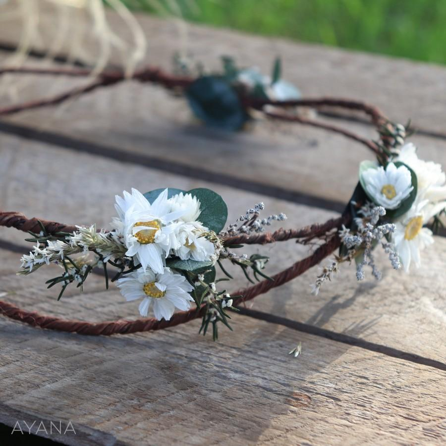 "Mariage - Wreath ""Natacha"", dried flower crown, preserved flower crown, flowers girl accessory, natural flowers hairstyle accessory, flower crown girl"