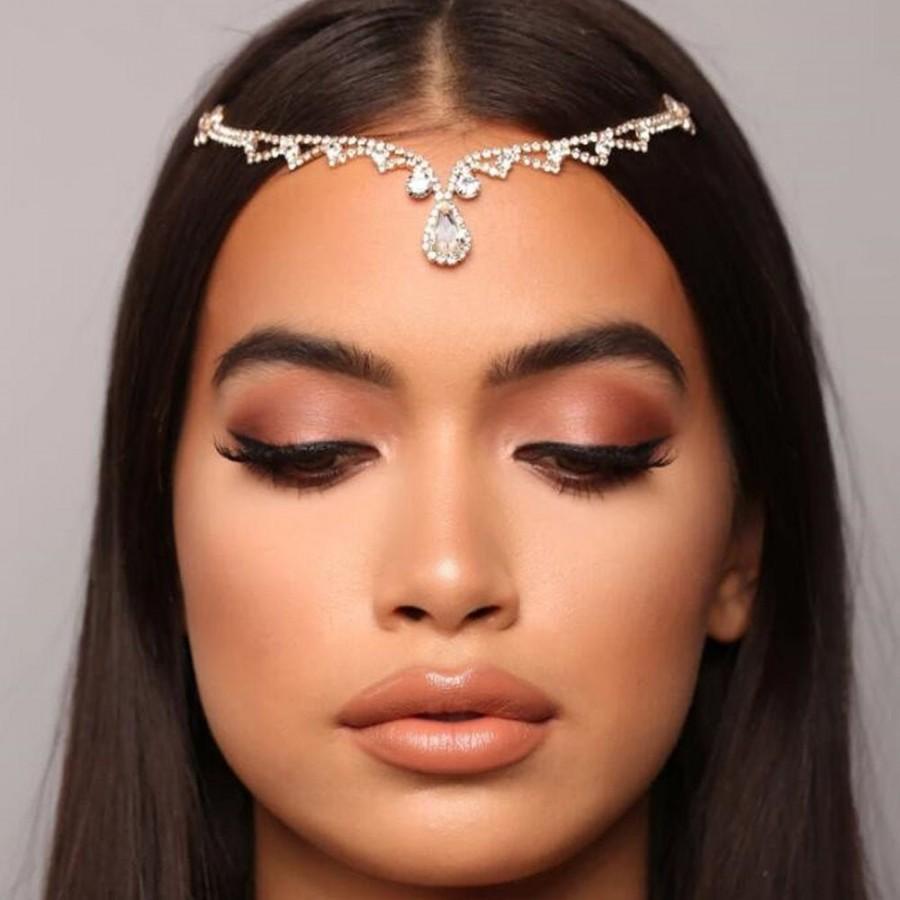 Свадьба - Rhinestone Waterdrop Bridal Hair Chain