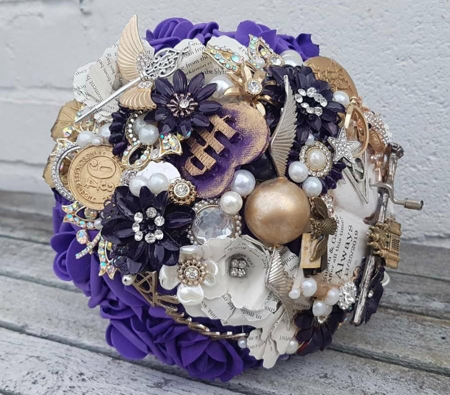 Wedding - Musical wizard inspired Magical  bouquet, with hand crank music, any colour, alternative, brooch bouquet, whimsical bouquet,  flower wedding
