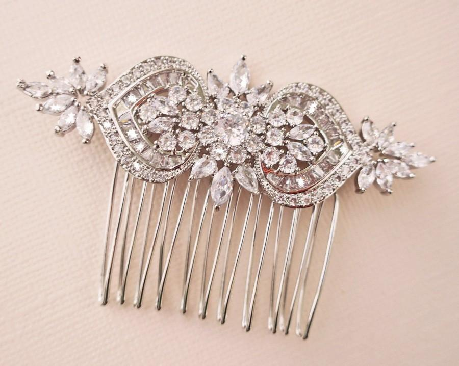 Hochzeit - Bridal Hair Comb Silver Art Deco Crystal Floral Bridal Headpiece,  Rose Gold Wedding Hair Comb