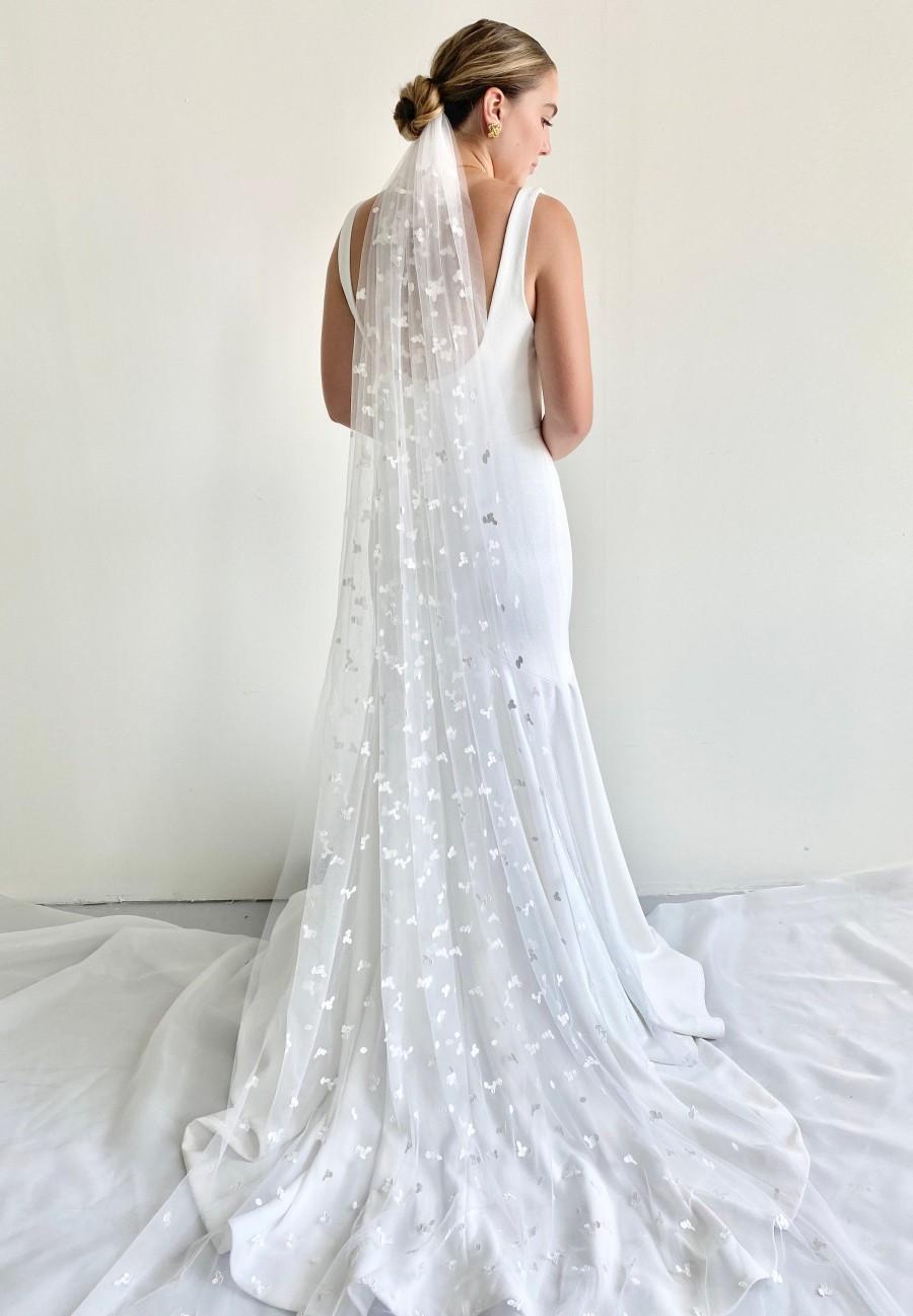 زفاف - Embroidered Tulle Petal Leaf Lace Veil, Fingertip Veil, Chapel Veil, Waist Veil