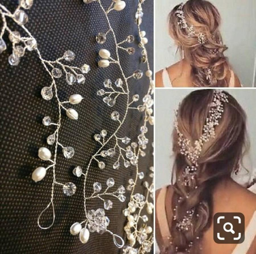 Wedding - Extra long Pearl Wedding Hair wrap Crystal Bridal hair vine hair Accessories  Bridesmaid hair vine Prom Headpiece long Piece 140cm