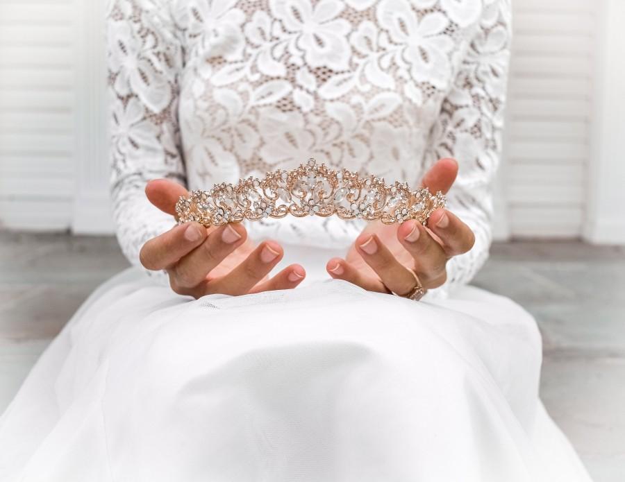 Hochzeit - Vintage-inspired Gold Royal Wedding Tiara, Opal Crystal Bridal Headpiece, Moonstone Filigree Wedding Crown - 3111
