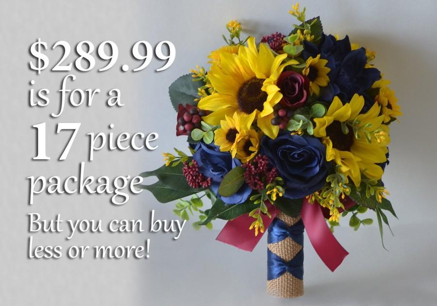 Hochzeit - Wedding Bouquet, Bridal Bouquet, Bridesmaid Bouquet, Silk Flower Bouquet, Wedding Flower, yellow, navy, burgundy, sunflower, Lily of Angeles
