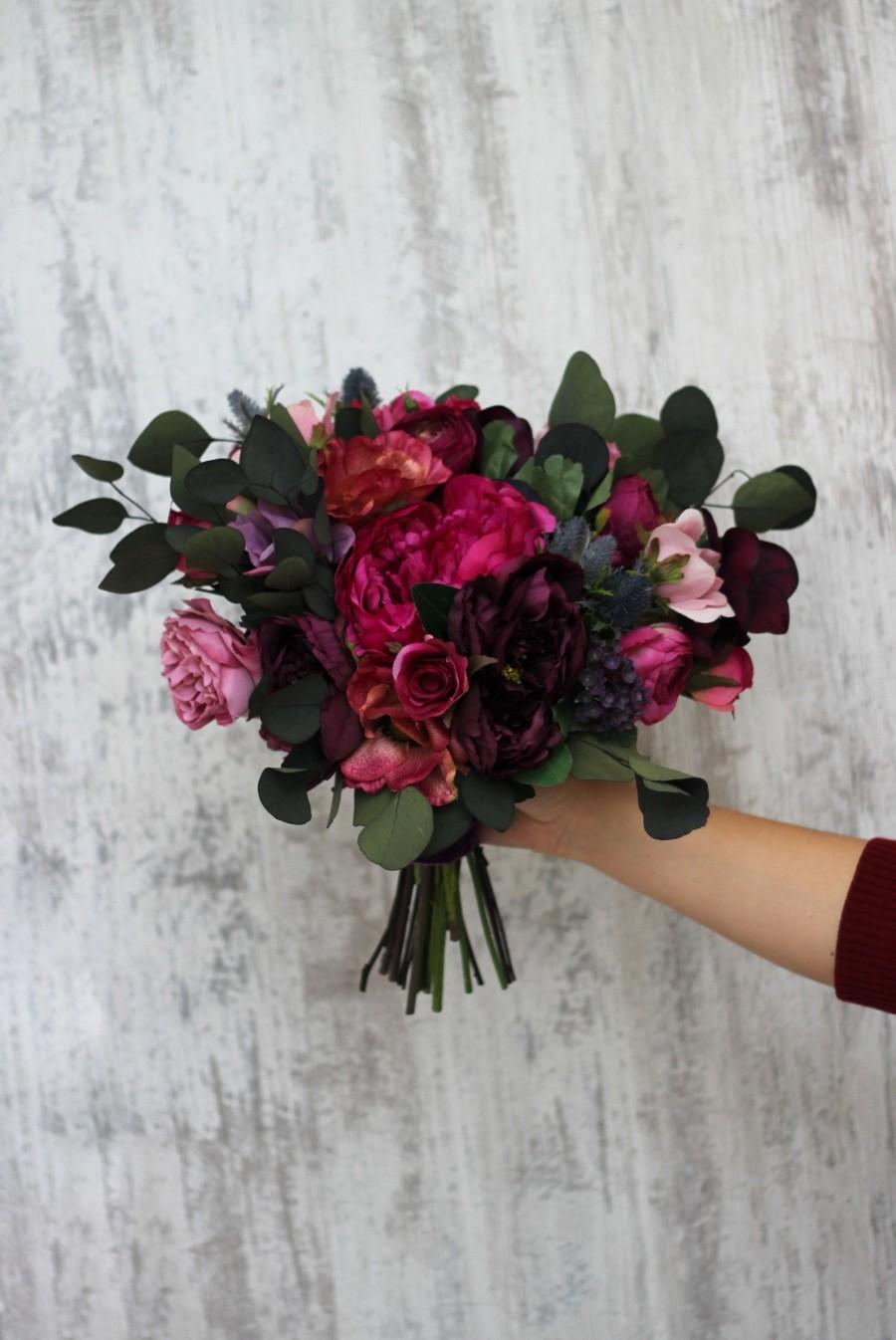 Wedding - Deep purple hot pink flowers Bridal bouquet Faux bouquet Peony eucalyptus Wedding Silk flowers Boho wedding-size 14 inch