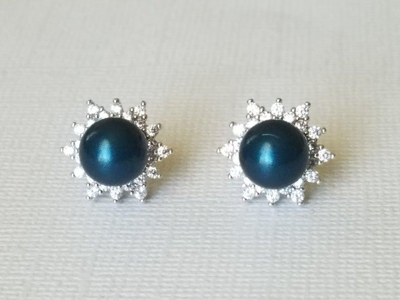Hochzeit - Peacock Pearl Earring Studs, Swarovski Petrol Earrings, Peacock Pearl Halo Studs, Wedding Peacock Bridesmaids Jewelry, Bridal Party Gifts