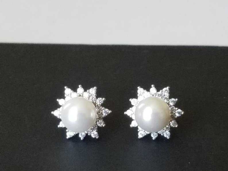 Hochzeit - Pearl Stud Bridal Earrings, Swarovski White Pearl Silver Earrings, Pearl Halo Earrings, Wedding Bridal Jewelry, Pearl Cubic Zirconia Studs