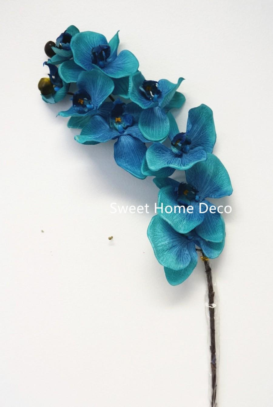 Mariage - JennysFlowerShop 38'' Flannel Phanaenopsis Orchid Silk Artificial Spray (10 Flower Heads) in 7 Beautiful Colors Blue