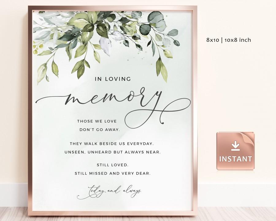 Свадьба - REESE - In Loving Memory Sign, Loving Memory Wedding Sign, Printable In Loving Memory Sign, Eucalyptus Greenery Wedding Memorial Sign