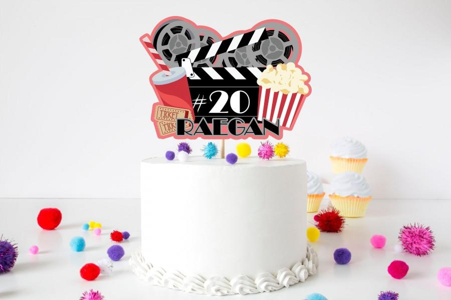 زفاف - Personalized Cinema Cake Topper - Movie Night Cake Topper - Hollywood Cake Topper - Actor Cake Topper-Non-Glitter Item