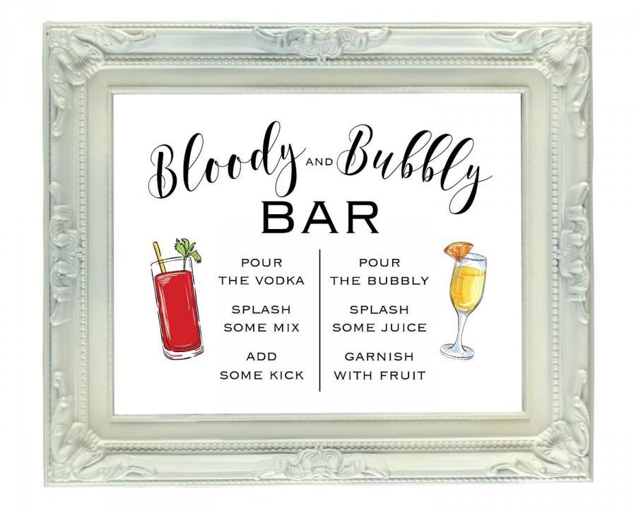Mariage - Bloody and Bubbly Bar, 8x10 Printable Mimosa and Bloody Mary Bar, Digital Wedding Bar Sign, Open Bar Sign, Bridal Brunch Sign, DIY Mimosa