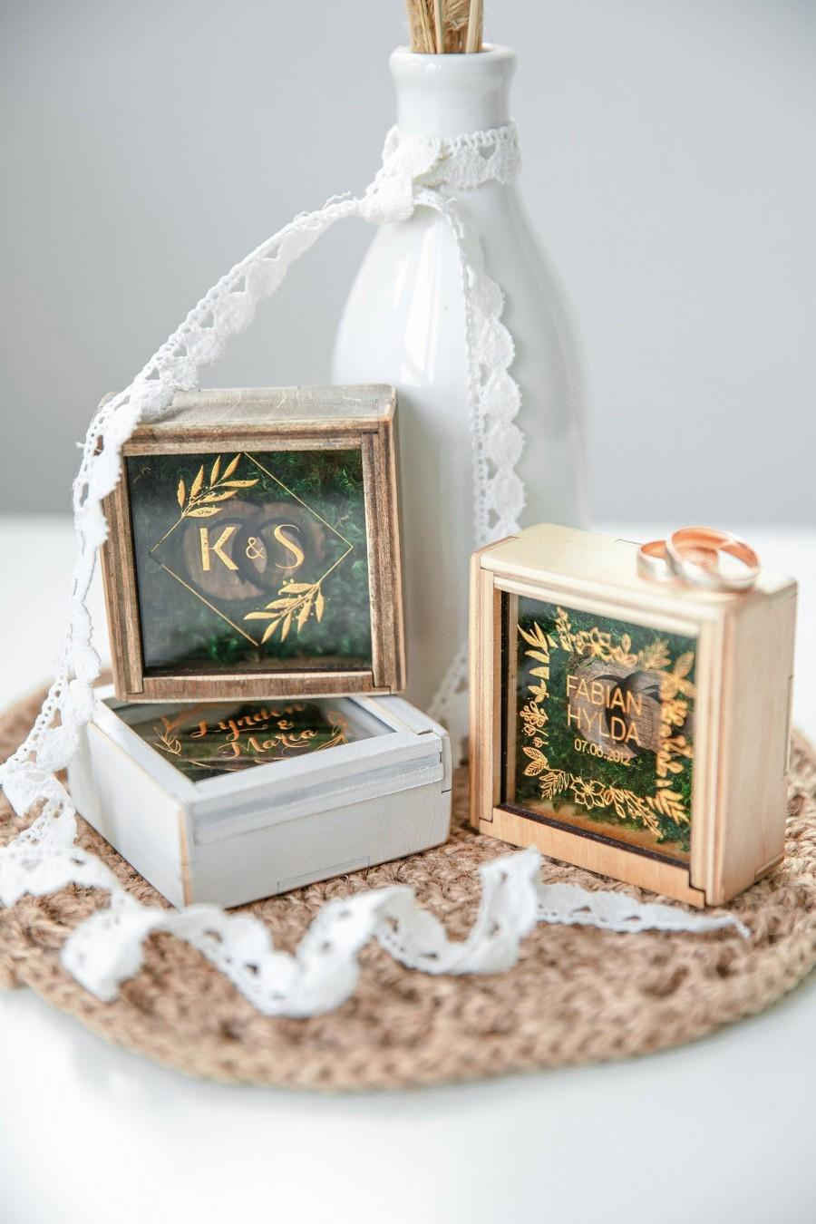 Mariage - Engagement Wedding Ring Box Ring Bearer Box Wood Proposal Ring Box Wedding Ring Holder Rustic Wedding Fall Mountain Wedding Moss Decor
