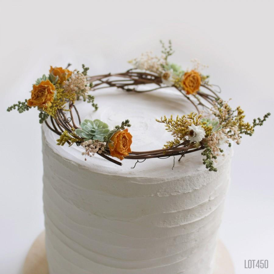Mariage - Wildflower Cake Topper Wreath with Dried Yellow Roses and Artificial Succulents, Rustic Bohemian Decorations for a Cake