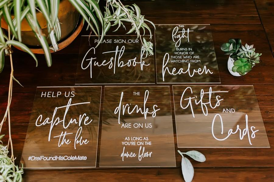 Mariage - 8x10 Sign Bundle of Guestbook, Gifts and Cards, In Loving Memory, Please Take One Clear Glass Acrylic Modern Calligraphy Wedding Sign, SIG