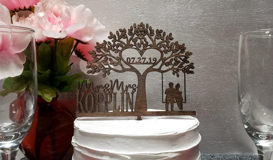 Wedding - Mr and Mrs Wedding Cake Topper, Tree Cake Topper, Glitter Wedding Cake topper, Couple Wedding Cake topper, Rustic  Bride & groom Cake topper