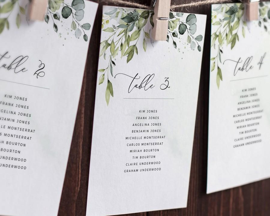 زفاف - REESE - Seating Chart Cards, Seating Chart Wedding, Printable Seating Plan, Seating Template, Hanging Greenery Seating Board, Table Template