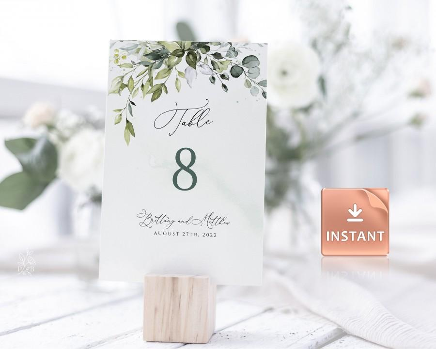 "Hochzeit - REESE - Watercolor Wedding Table Numbers, Greenery Eucalyptus Leaves, 2 Sizes 5x7"" and 4x6"", Instant Download, Editable Boho Card Template"