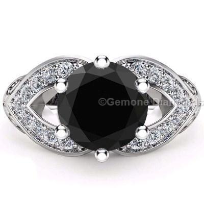 Mariage - 3.05 Ct Black Diamond Halo Ring Online