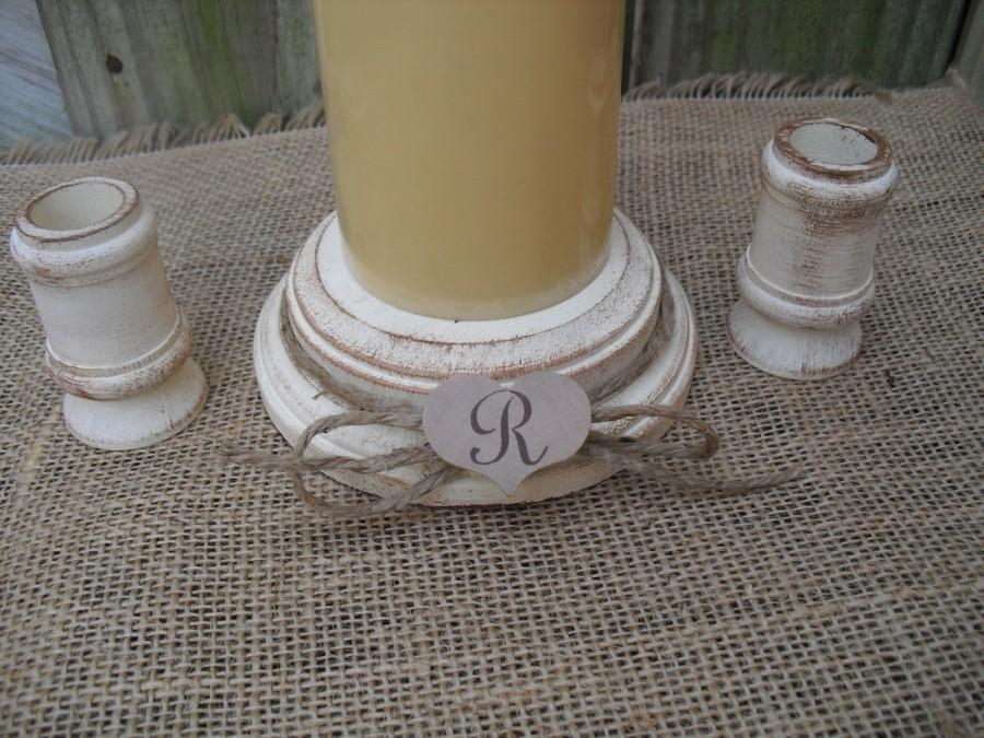 Свадьба - Shabby Chic Wood Wedding Monogram Unity Candle Holder Set - You Pick Color - Item 1560