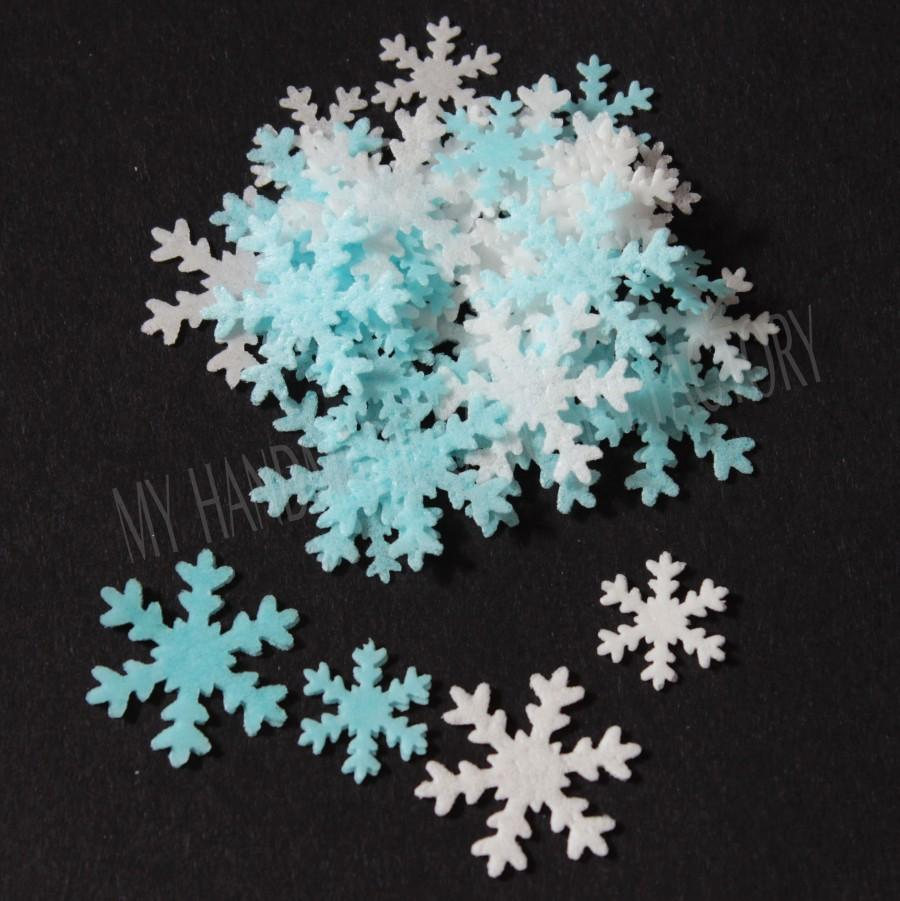 Wedding - 100 Edible 'Frozen' Christmas Snowflake Rice Paper Cake toppers