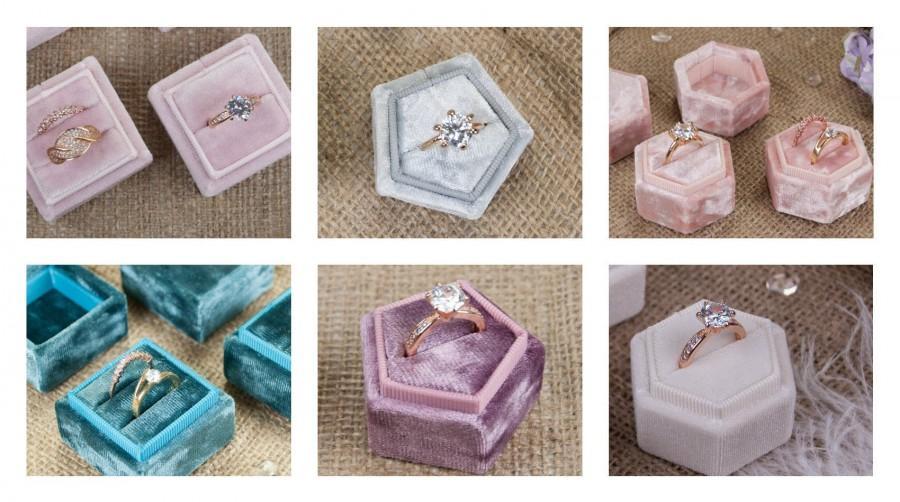 Wedding - Velvet ring box - 72 colors of velvet - Vintage ring box - Wedding gift - Monogram ring box - Double ring box