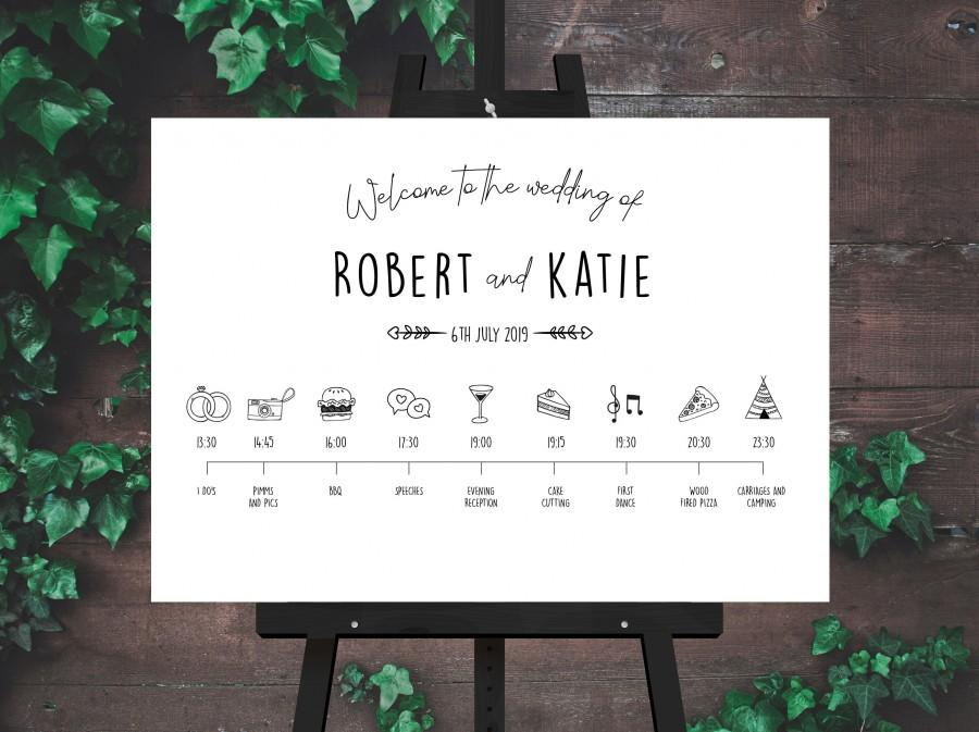 Свадьба - Black and White Barn Wedding Welcome and Order of the Day Sign