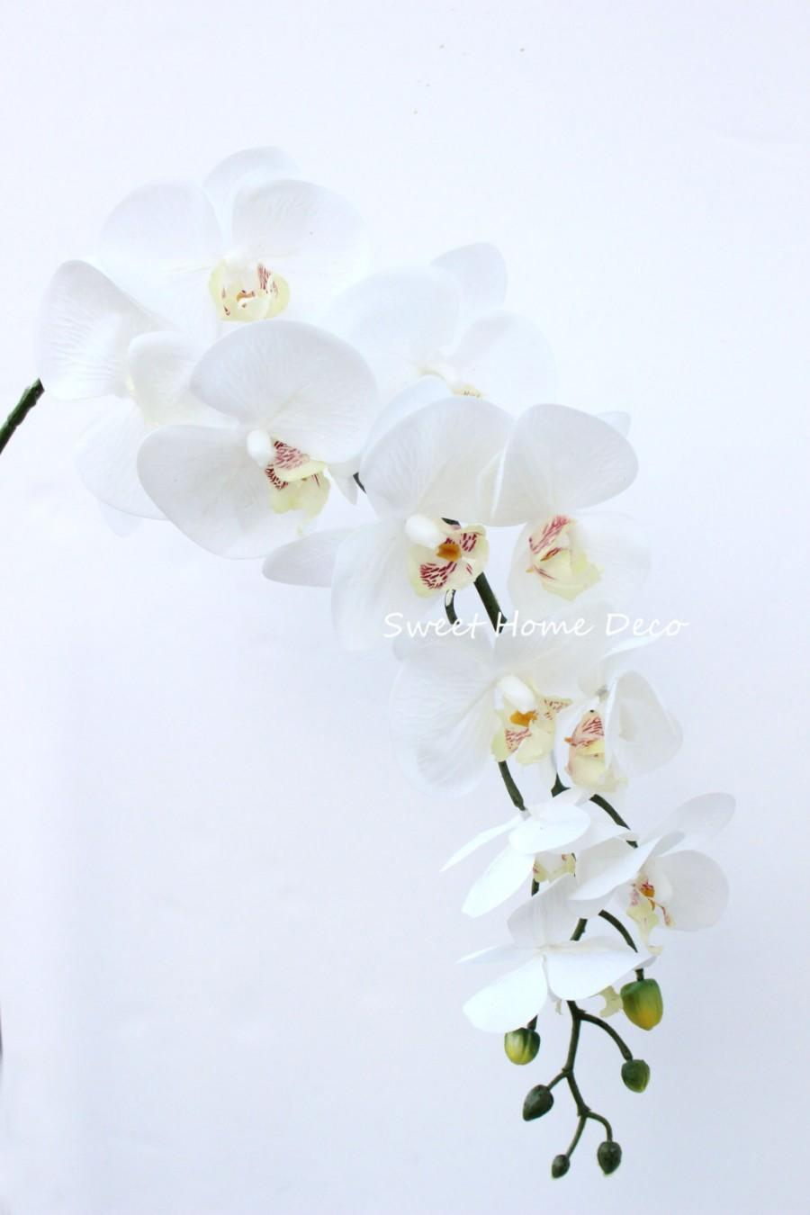 Mariage - JennysFlowerShop 40'' Latex Phalaenopsis Orchid Real Touch Flower Single Spray w/11 Beautiful Blooms Wedding Home Decorations