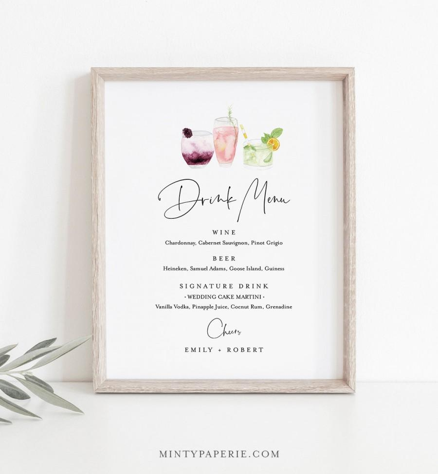 Свадьба - Drink Menu Sign, Editable Wedding Bar Menu Template, Printable Watercolor Cocktail Menu, Instant Download, Templett 8x10 #060-119BP-DM
