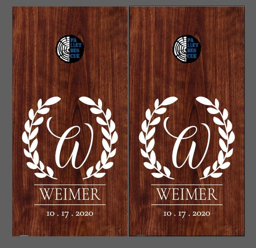 Wedding - corn hole boards - corn hole Wedding Last Name monogram - Vinyl Decal or Stencil - Wedding-Birthday-Party Decor-Anniversary-Custom Cornhole