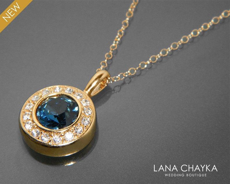 Hochzeit - Navy Blue Gold Necklace, Blue Crystal Halo Wedding Necklace, Swarovski Montana Bridal Necklace, Blue Round Pendant, Mother of The Bride Gift