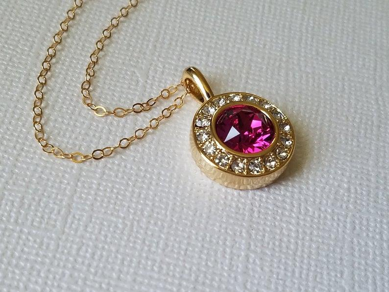 Wedding - Fuchsia Gold Crystal Necklace, Swarovski Fuchsia Halo Pendant, Wedding Hot Pink Necklace, Bridal Pink Necklace, Fuchsia Gold Round Pendant