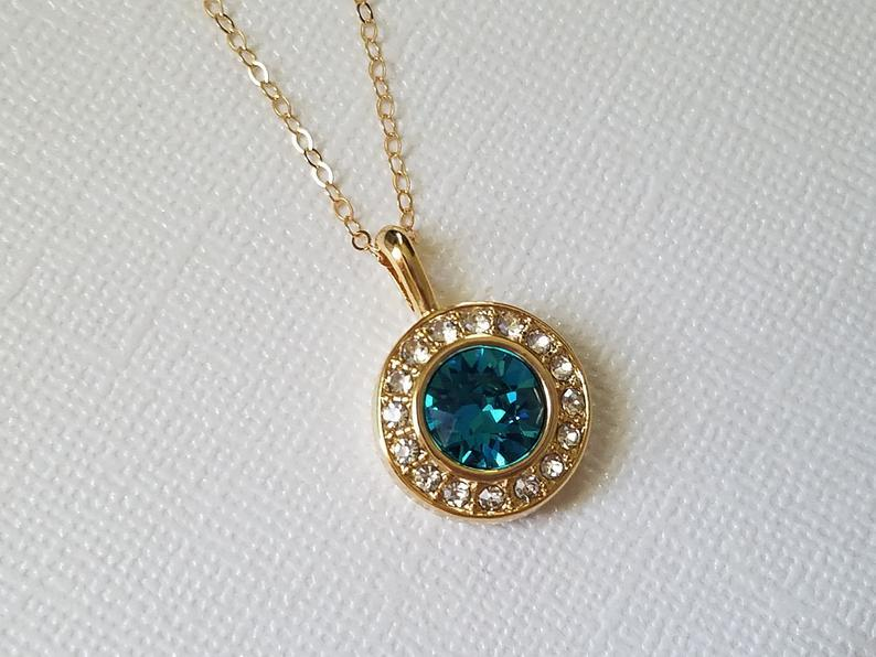Wedding - Teal Gold Crystal Halo Necklace, Swarovski Indicolite Pendant, Wedding Peacock Jewelry, Bridal Teal Necklace, Peacock Gold Round Pendant