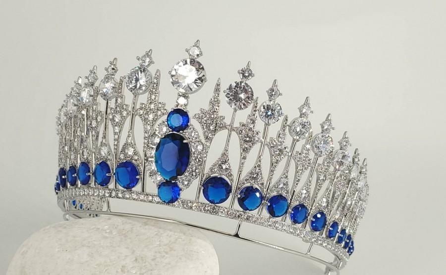 Свадьба - Something Blue Bridal Royal Tiara - Dutch Sapphire Royal Tiara / Diamante Statement Crown, Silver Wedding Tiara Vintage, Queen Maxima Crown